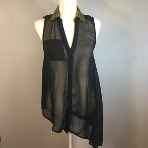 TRUTH NYC, Black Asymetrical Blouse, Sequins